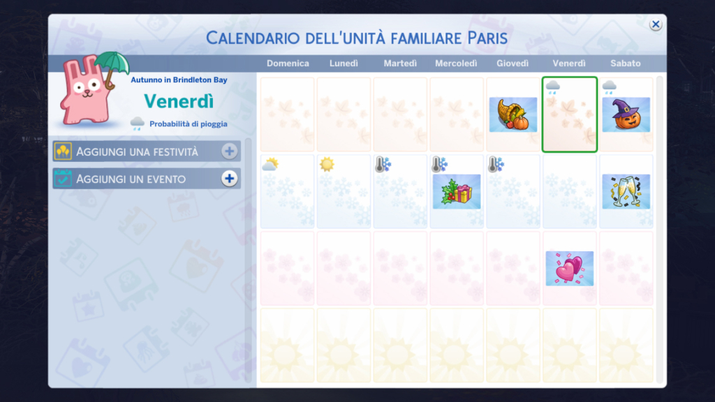 sims 4 stagioni calendario halloween